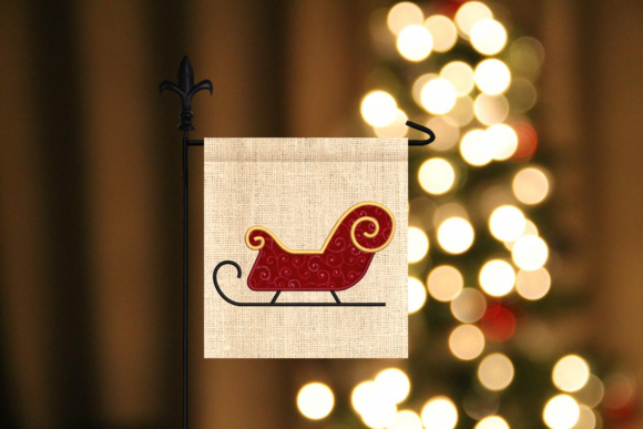 Santa's Sleigh Applique Christmas Embroidery Design By DesignedByGeeks - Image 1