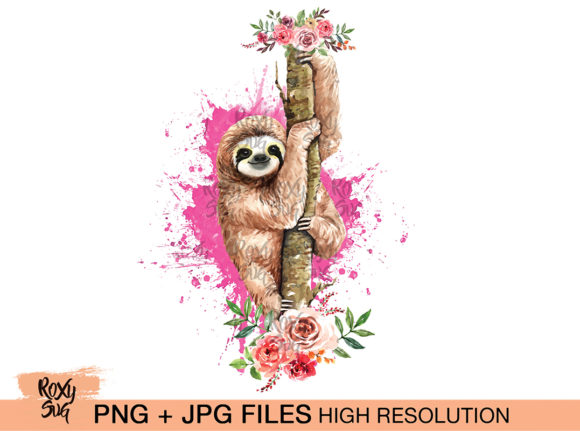 Sloth on Tree with Flowers, Sloth Graphic Crafts By roxysvg26 - Image 1