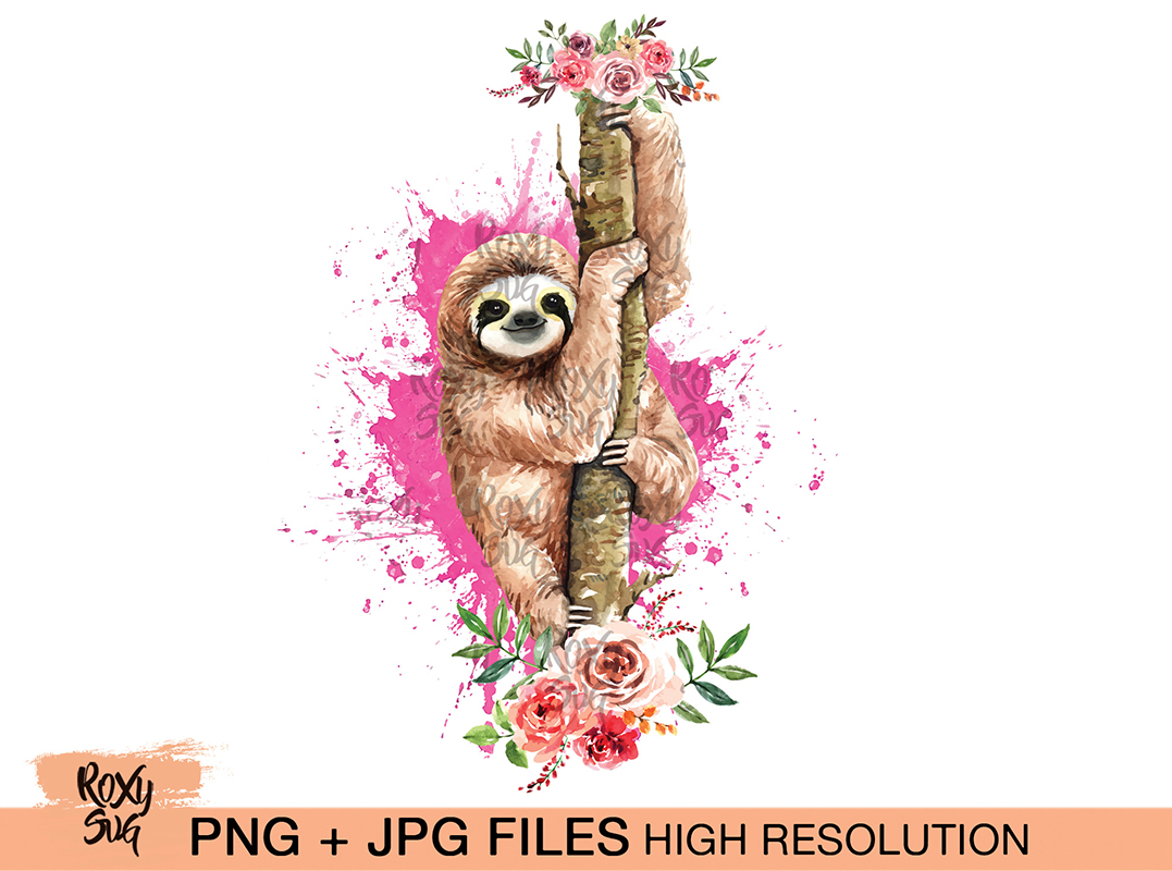 Download Free Sloth On Tree With Flowers Graphic By Roxysvg26 Creative Fabrica for Cricut Explore, Silhouette and other cutting machines.