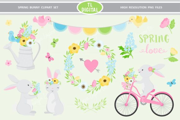 Spring Bunny Clipart - Spring Floral Graphic Illustrations By TL Digital