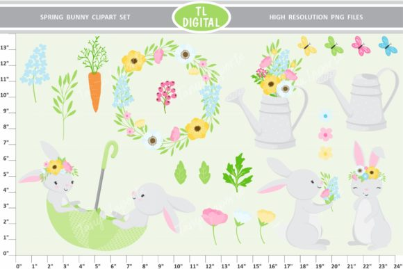 Download Free Spring Bunny Clipart Spring Floral Graphic By Tl Digital for Cricut Explore, Silhouette and other cutting machines.