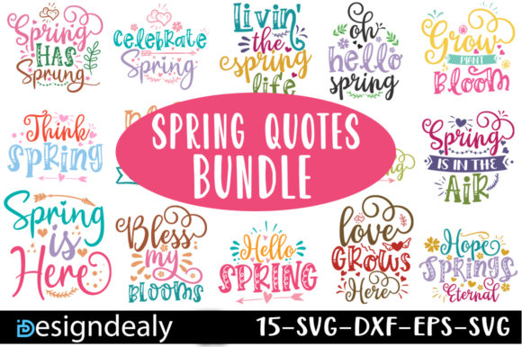 Print on Demand: Spring Quotes Bundle Graphic Print Templates By Designdealy.com