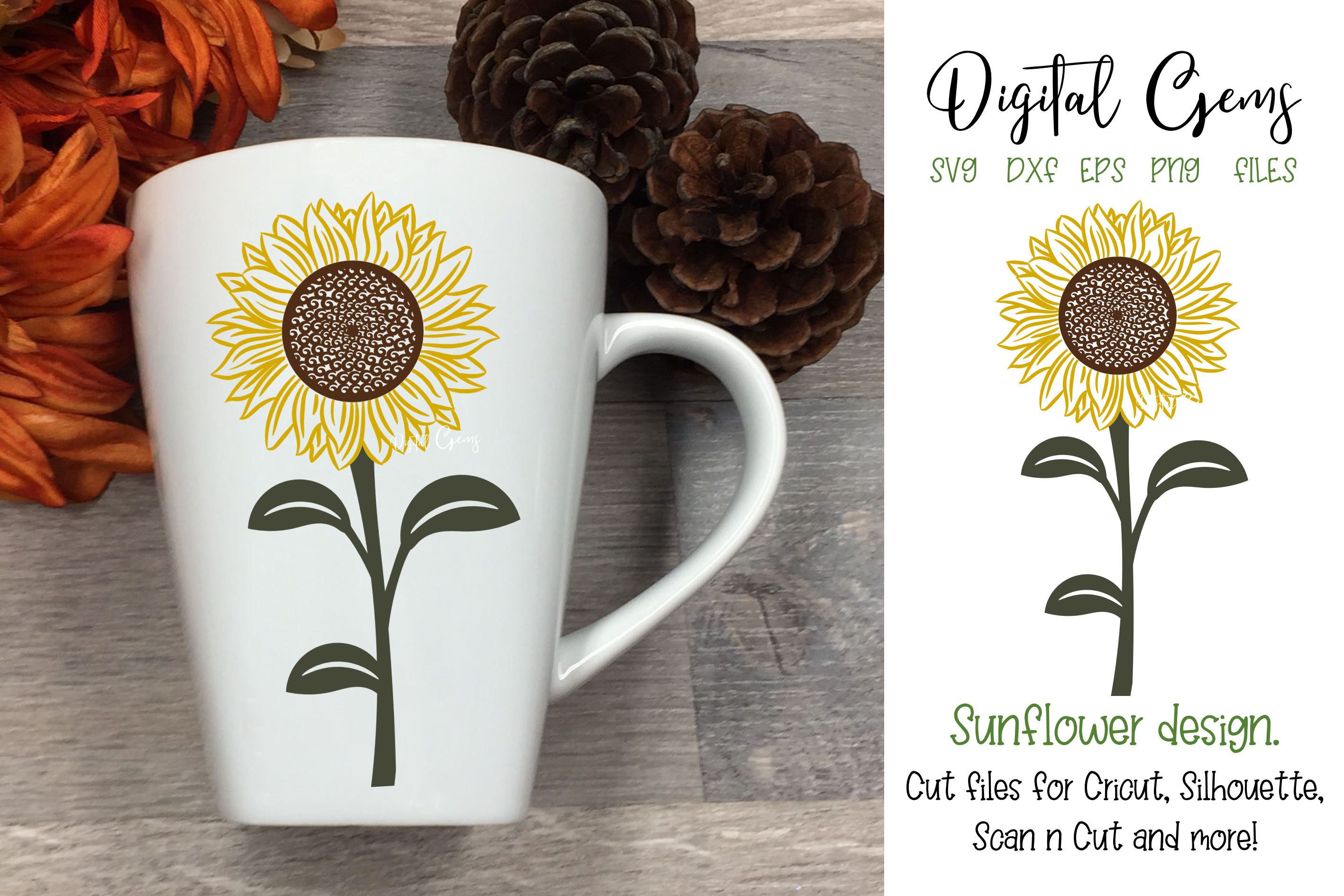 Download Free Sunflower Design Graphic By Digital Gems Creative Fabrica for Cricut Explore, Silhouette and other cutting machines.