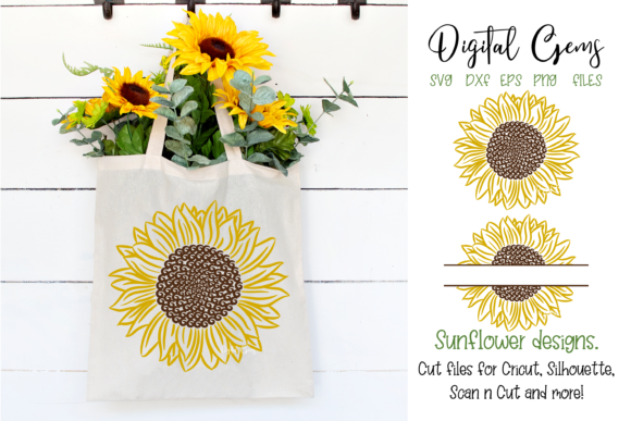 Download Free Sunflower Designs Graphic By Digital Gems Creative Fabrica for Cricut Explore, Silhouette and other cutting machines.