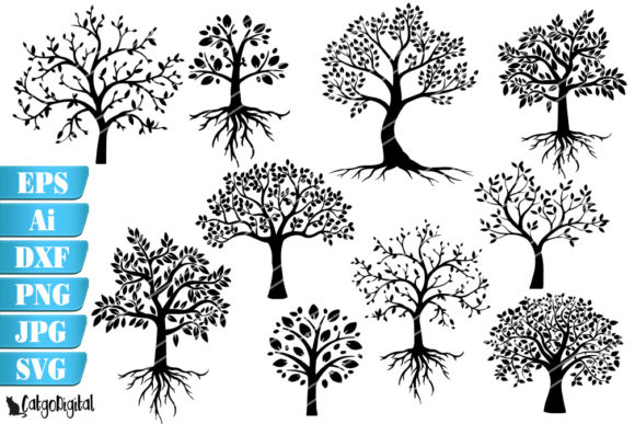 Print on Demand: Tree Silhouettes Grafik Illustrationen von CatgoDigital