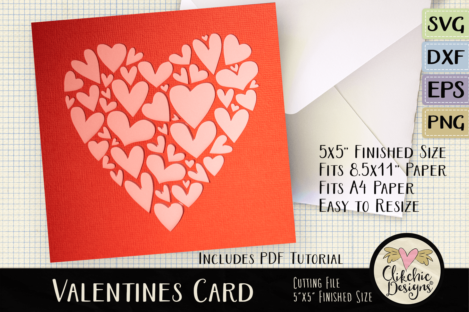 Download Free Valentine Hearts Card Cutting File Graphic By Clikchicdesigns for Cricut Explore, Silhouette and other cutting machines.
