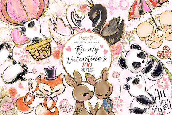 Valentine's Clip Art Graphic Illustrations By Hippogifts