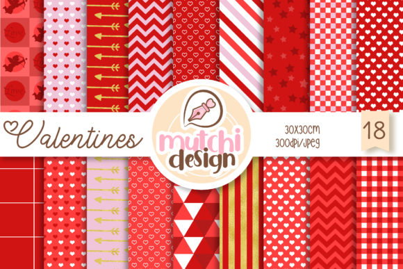 Print on Demand: Valentines Day Digital Papers Graphic Backgrounds By Mutchi Design