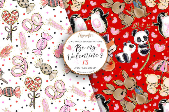 Download Free Valentine S Day Patterns Grafico Por Hippogifts Creative Fabrica for Cricut Explore, Silhouette and other cutting machines.