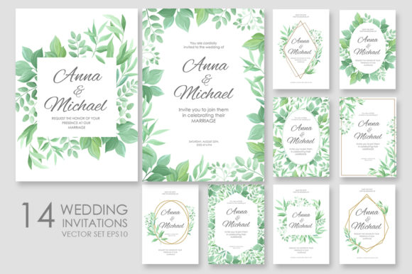 Print on Demand: Wedding Invitations Vector Set #2 Graphic Print Templates By Nata Art Graphic