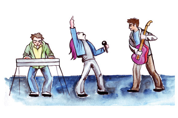Rock Band Performing in Watercolor Music Craft Cut File By Creative Fabrica Crafts