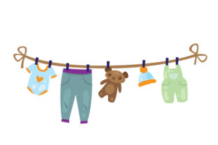 Laundry Hanging on Clothesline Laundry Room Craft Cut File By Creative Fabrica Crafts