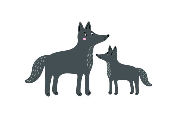 Mom and Baby Wolves Animals Craft Cut File By Creative Fabrica Crafts