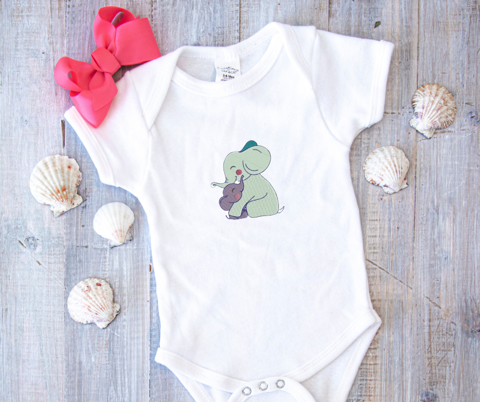 Get this design here: Mom and baby elephant.