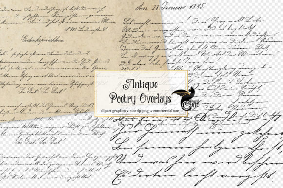 Antique Poetry Overlays Graphic Textures By Digital Curio - Image 1