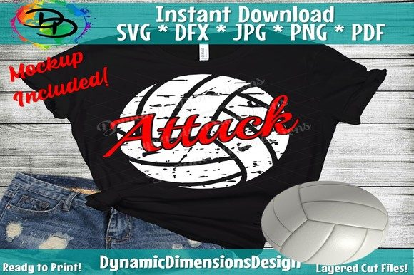 Attack Distressed Volleyball Gráfico Crafts Por dynamicdimensions