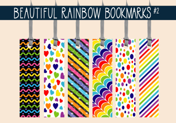 Print on Demand: Beautiful Rainbow Bookmarks    #2 Graphic Print Templates By capeairforce