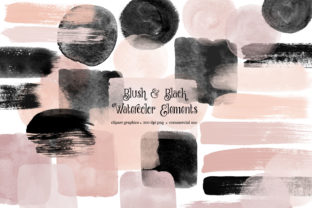 Print on Demand: Blush and Black Watercolor Elements Graphic Illustrations By Digital Curio