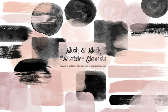 Blush and Black Watercolor Elements Graphic Illustrations By Digital Curio