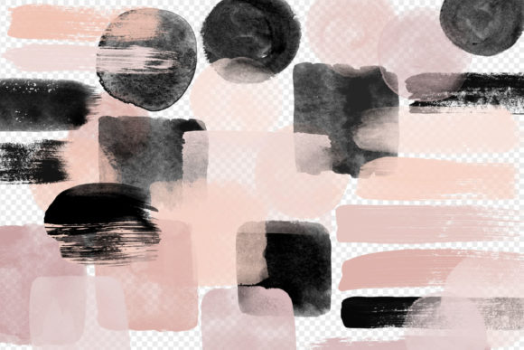 Blush and Black Watercolor Elements Graphic Illustrations By Digital Curio - Image 2