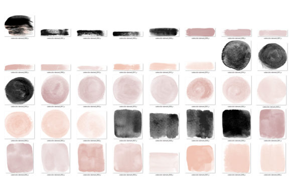 Blush and Black Watercolor Elements Graphic Illustrations By Digital Curio - Image 3