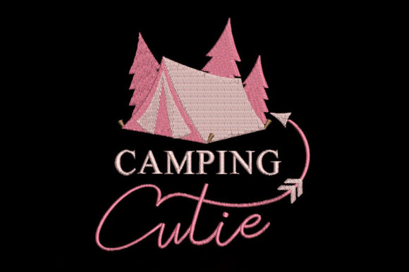 Camping Cutie Camping & Fishing Embroidery Design By Embroidery Shelter
