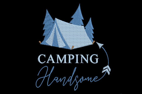 Print on Demand: Camping Handsome Camping & Fishing Embroidery Design By Embroidery Shelter - Image 1