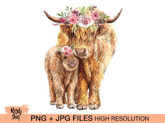 Print on Demand: Cow and Calf with Flower Graphic Crafts By roxysvg26