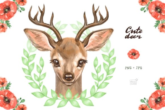 Cute Deer Cliparts Graphic Illustrations By NataliMyaStore