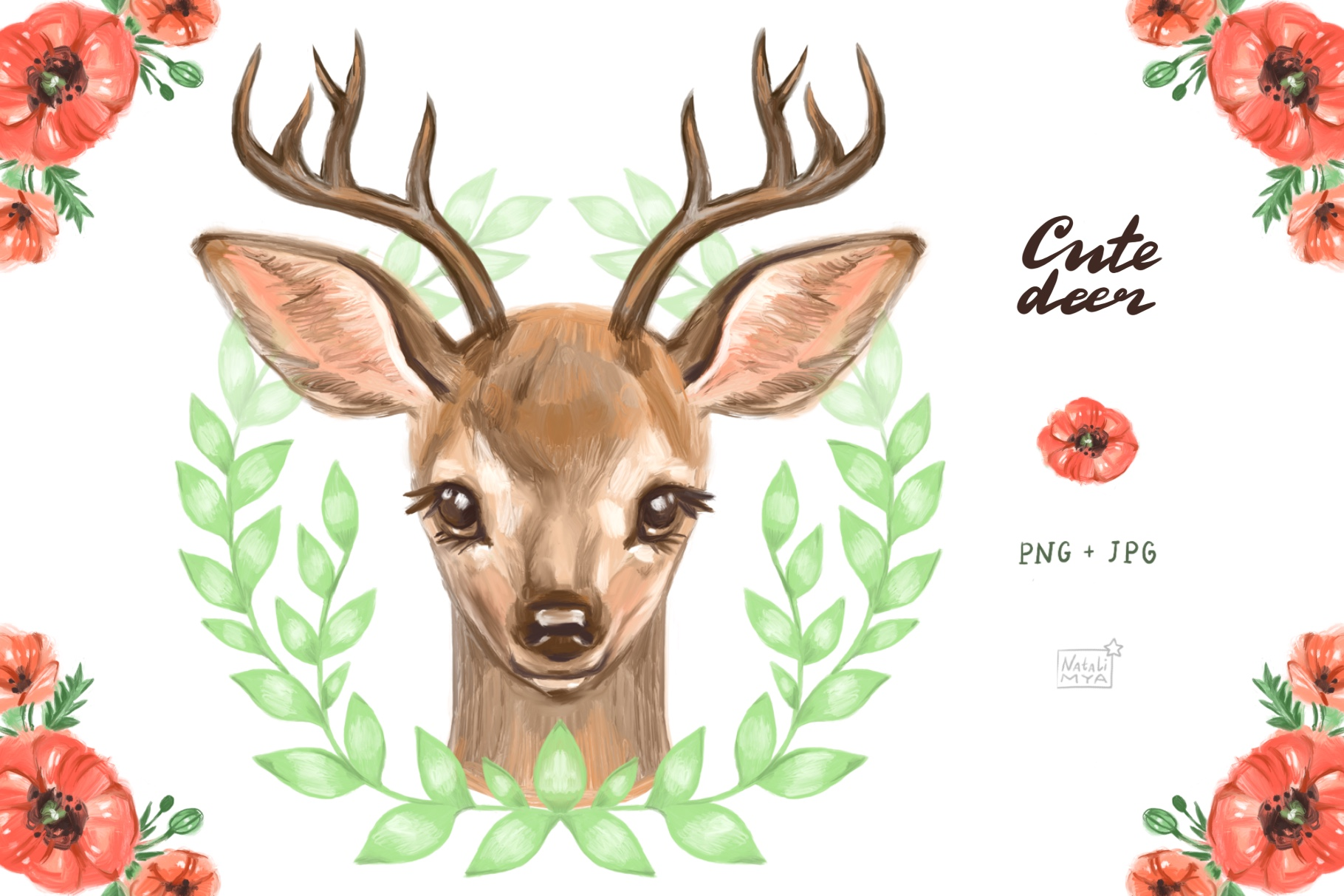 Cute Deer Cliparts (Graphic) by NataliMyaStore · Creative ...