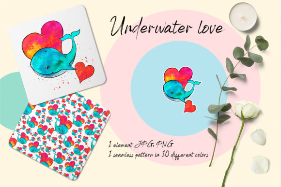 Dolphin and Heart Graphic Illustrations By ElenaZlataArt