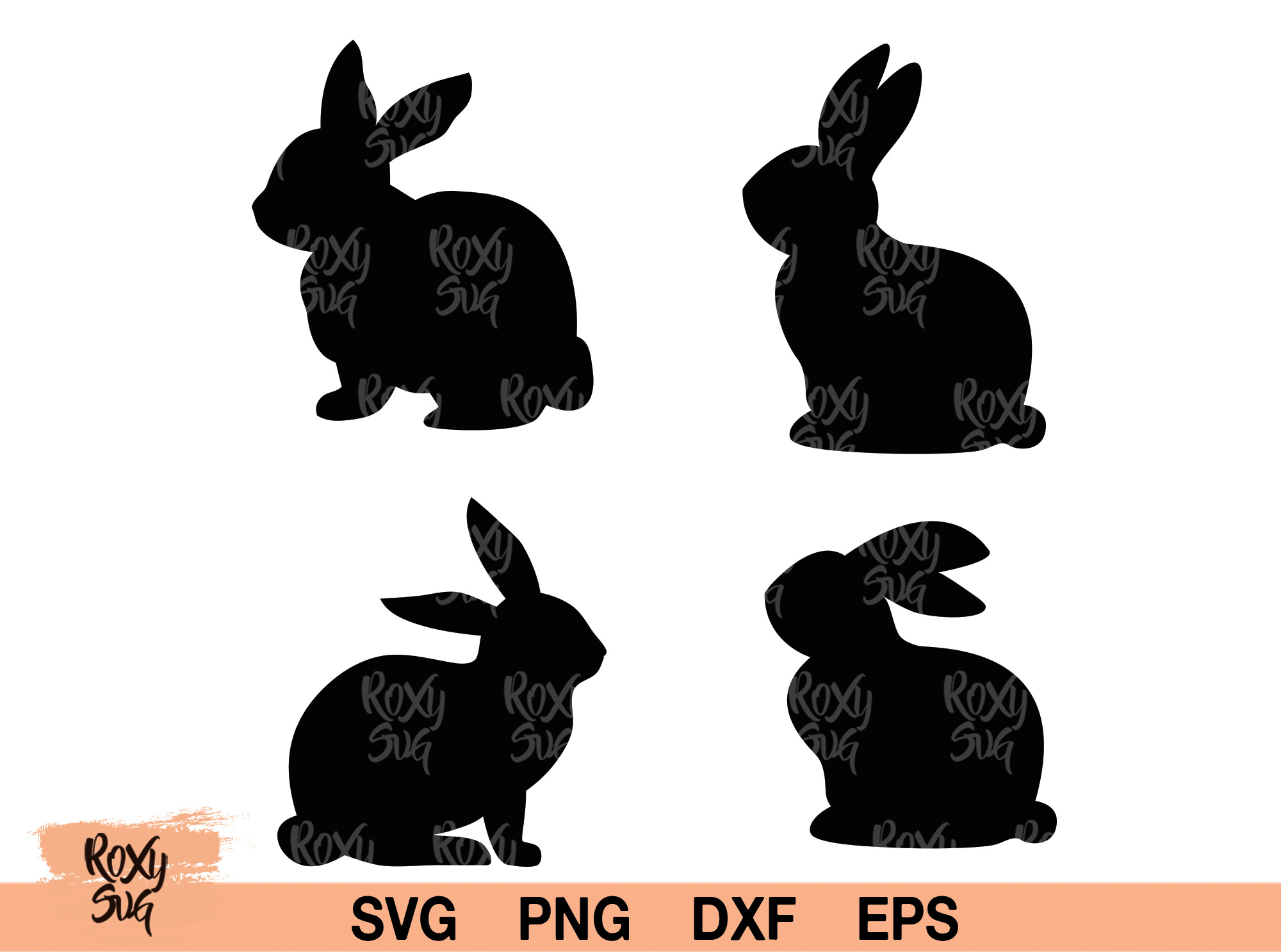 Download Free Easter Bunnies Graphic By Roxysvg26 Creative Fabrica for Cricut Explore, Silhouette and other cutting machines.