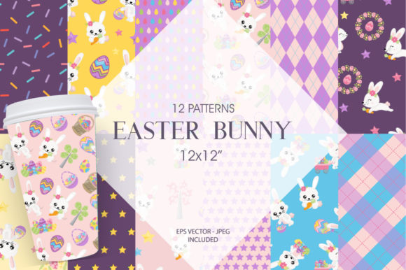 Print on Demand: Easter Bunny Digital Paper Graphic Patterns By Prettygrafik