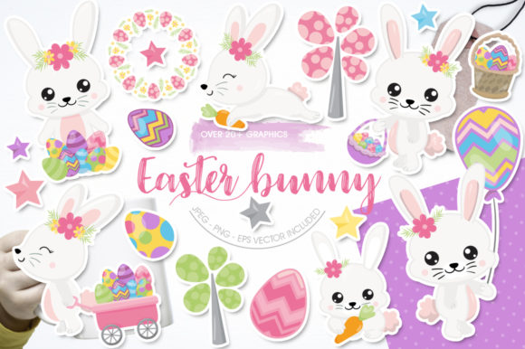Print on Demand: Adorable Easter Bunnies Graphic Graphic Templates By Prettygrafik - Image 1