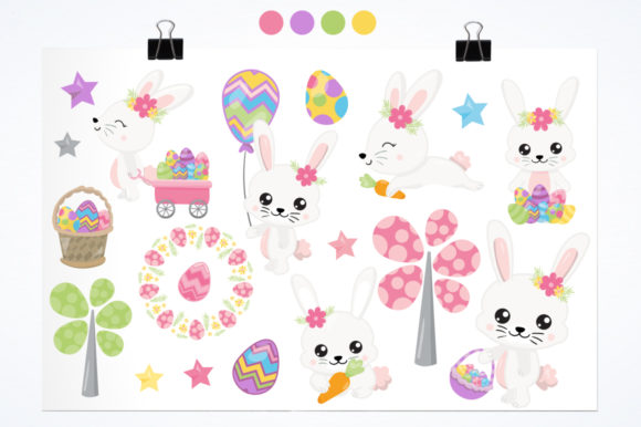 Print on Demand: Adorable Easter Bunnies Graphic Graphic Templates By Prettygrafik - Image 2