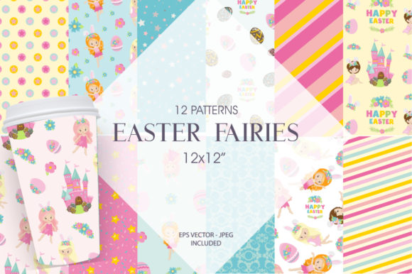 Print on Demand: Easter Fairies Digital Paper Graphic Patterns By Prettygrafik