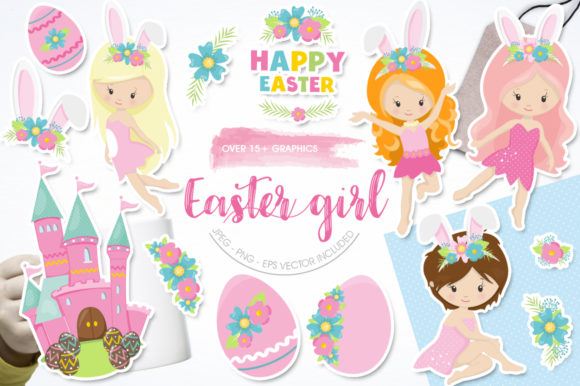 Print on Demand: Easter Girl Graphic Graphic Templates By Prettygrafik - Image 1
