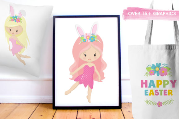 Print on Demand: Easter Girl Graphic Graphic Templates By Prettygrafik - Image 5