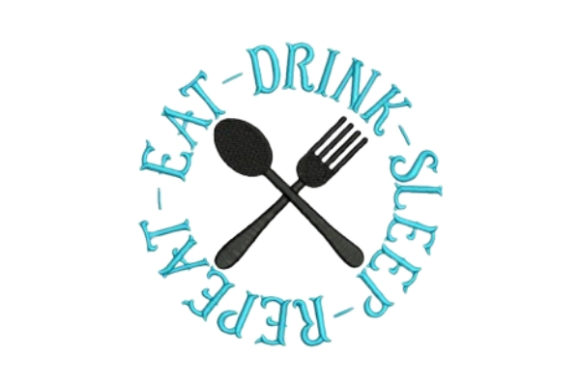 Download Free Eat Drink Sleep Repeat Creative Fabrica for Cricut Explore, Silhouette and other cutting machines.