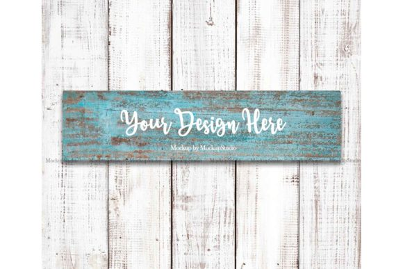 Print on Demand: Farmhouse Blue Wooden Sign Mockup Graphic Product Mockups By Mockup Station