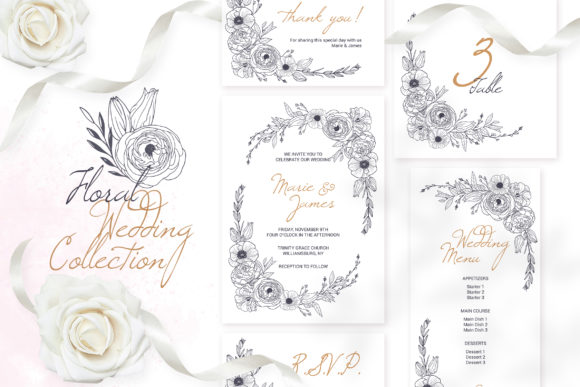 Floral Wedding Cards Monochrome Graphic Graphic By Pawstudio