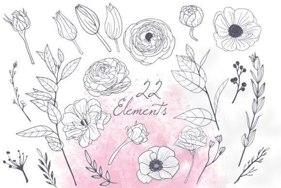 Print on Demand: Floral Wedding Cards Monochrome Graphic Graphic Illustrations By PawStudio - Image 4