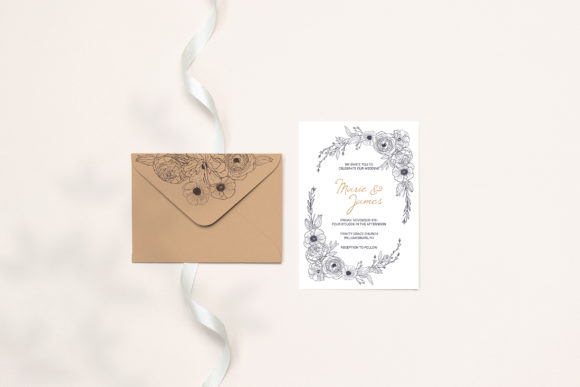 Print on Demand: Floral Wedding Cards Monochrome Graphic Graphic Illustrations By PawStudio - Image 5