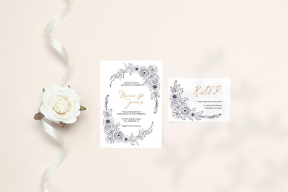 Print on Demand: Floral Wedding Cards Monochrome Graphic Graphic Illustrations By PawStudio - Image 7