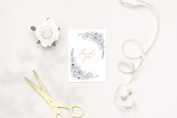 Print on Demand: Floral Wedding Cards Monochrome Graphic Graphic Illustrations By PawStudio - Image 8