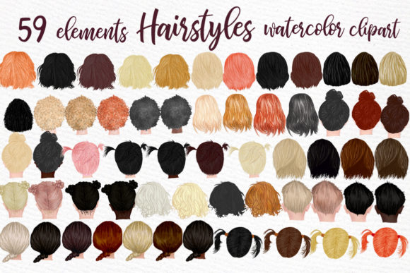 Hairstyles Clipart Kids Hairstyles Graphic Illustrations By LeCoqDesign - Image 1