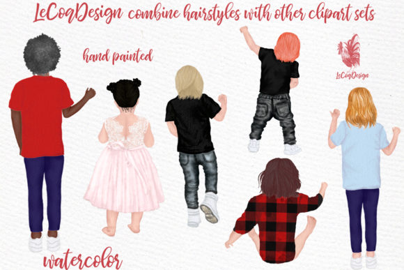 Hairstyles Clipart Kids Hairstyles Graphic Illustrations By LeCoqDesign - Image 3