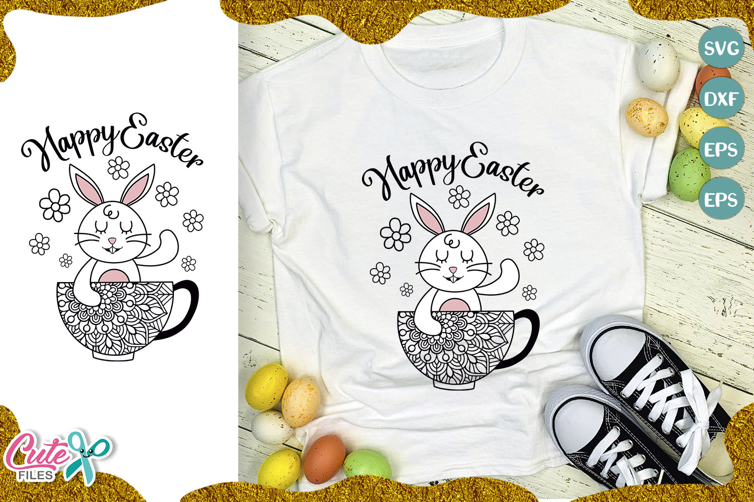 Download Free Happy Easter Graphic By Cute Files Creative Fabrica for Cricut Explore, Silhouette and other cutting machines.