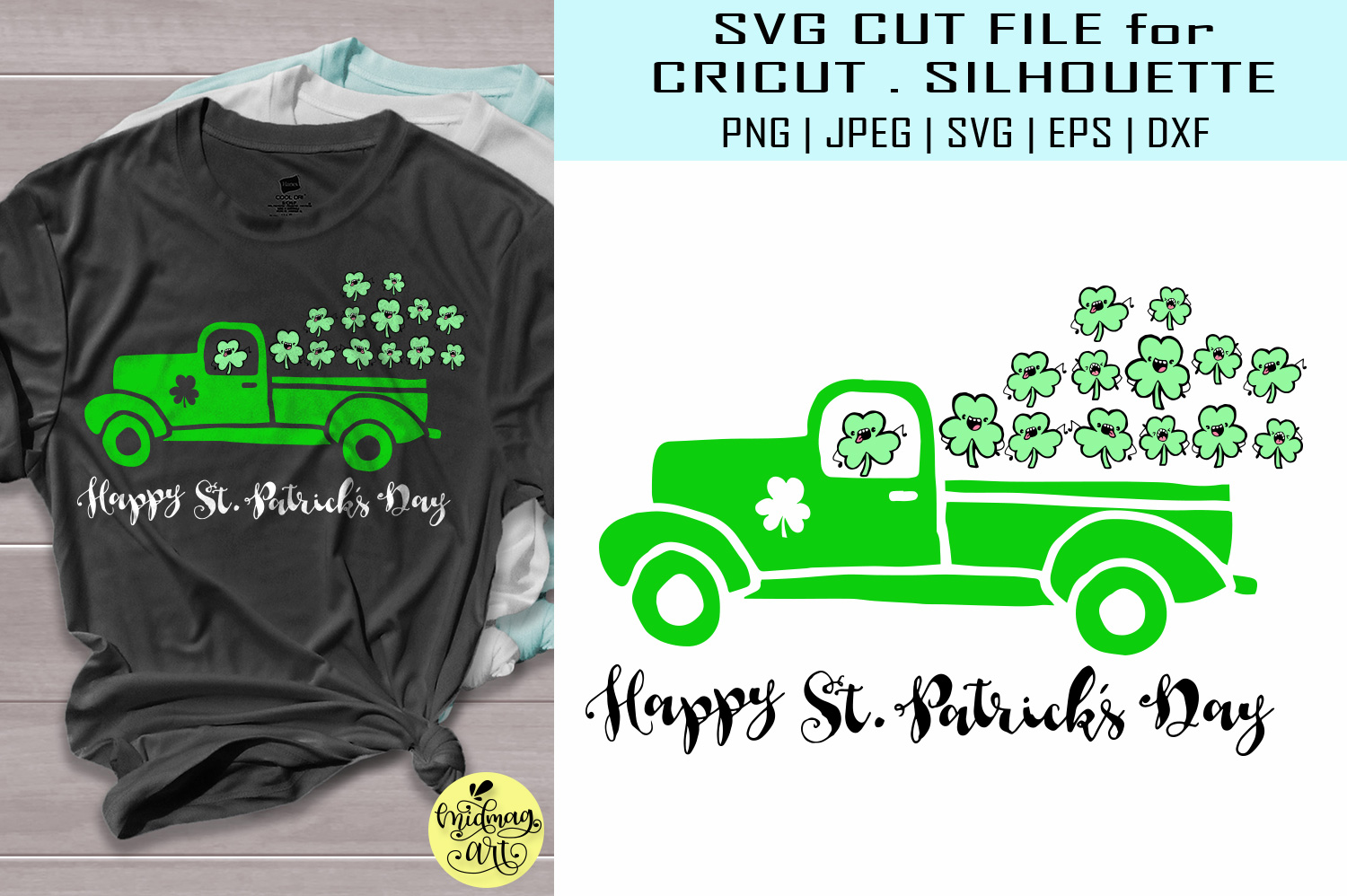 Download Free Happy St Patricks Day Truck Graphic By Midmagart Creative Fabrica for Cricut Explore, Silhouette and other cutting machines.