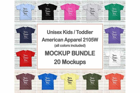 Print on Demand: Kids Tshirt Mockup Bundle Graphic Product Mockups By Mockup Station